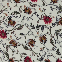 Woven viscose offwhite with flowers