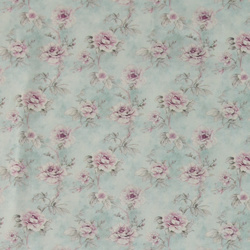 Woven cotton light blue with flowers