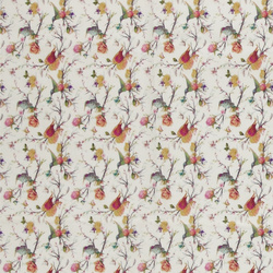 Woven cotton white with birds