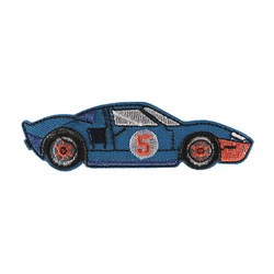 Patch racing car 95x27mm blue 1pc