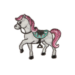Patch horse 49x46mm white 1pc