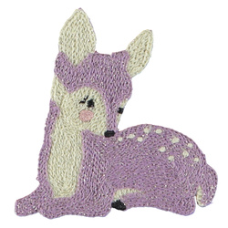 Patch deer 77x81mm light purple 1 pc