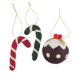 Kit wool stick/christmas ball 5-11cm 3pc