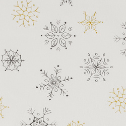 Woven white w dark grey/golden snowflake