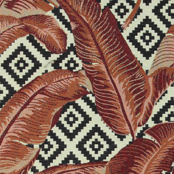 Jacquard nature/black w red brown leaves