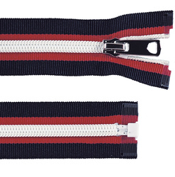 Zip 6mm open end navy/red/white