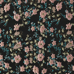 Woven jacquard black with flowers