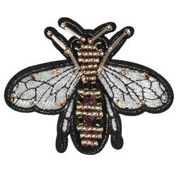 Patch fly 85x70mm pearl silver/gold 1pc