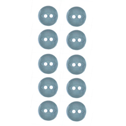 Button 2-holes 11mm dusty blue 10pcs