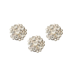Shank button metal 20mm rhinestone 3pcs