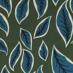 Woven twill dark green with leaves