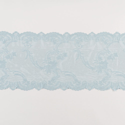 Lace mol light blue w rose edging 35cm