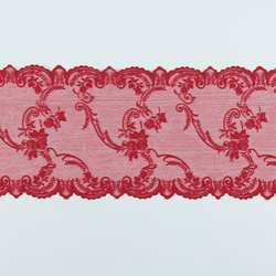 Lace mol red w rose edging 35cm