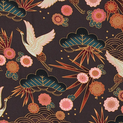 Woven viscose brown with crane print