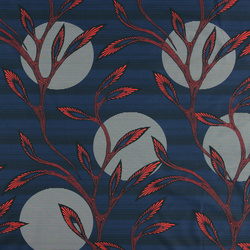 Cotton blue/black strip w orange waxtree