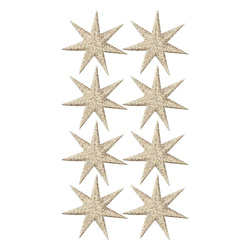 Deco star 30x30mm gold/silver lurex 8pcs