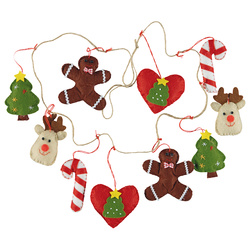 Kit felt garland christmas 110cm 10 pcs