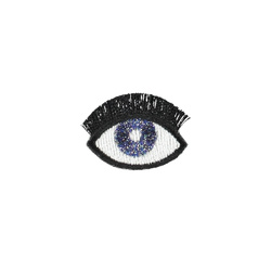 Patch eye 32x23mm blue/white/black 1pc