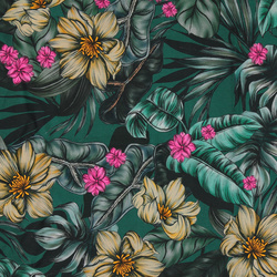 Viscose stretch jersey petrol w flowers