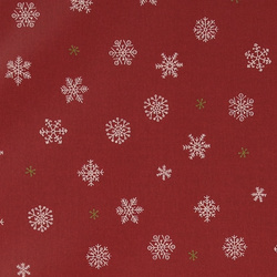 Woven oil cloth red w snow crystals