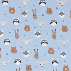 Organic stretch dusty blue with animals