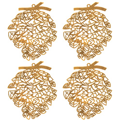 Deko metal pinecone 75x62mm gold 4pcs