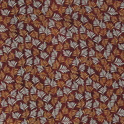 Woven viscose brown w check and leaf