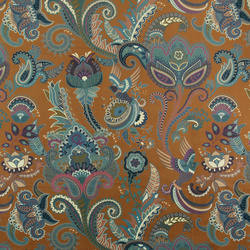 Upholstery velvet golden brown paisley
