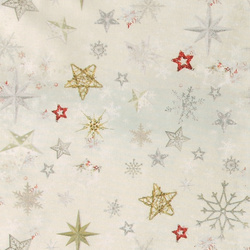 Woven oilcloth light grey with stars