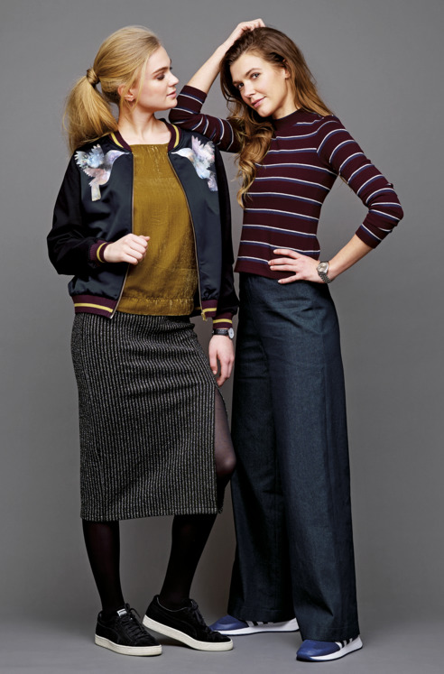 Bomber jacket, velvet top, skirt with slit, long sleeve top and trousers